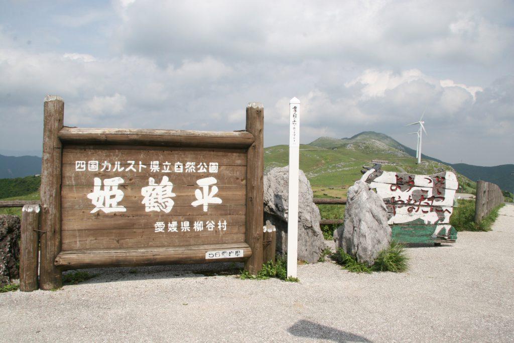 姫鶴平の雄大な自然の中に牧場があります
